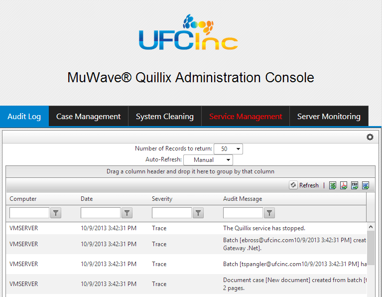 Screen shot of the Quillix admin console