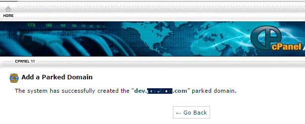 successfully added parked domain