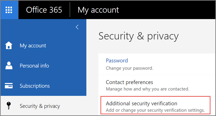Microsoft 365 Security and privacy screen
