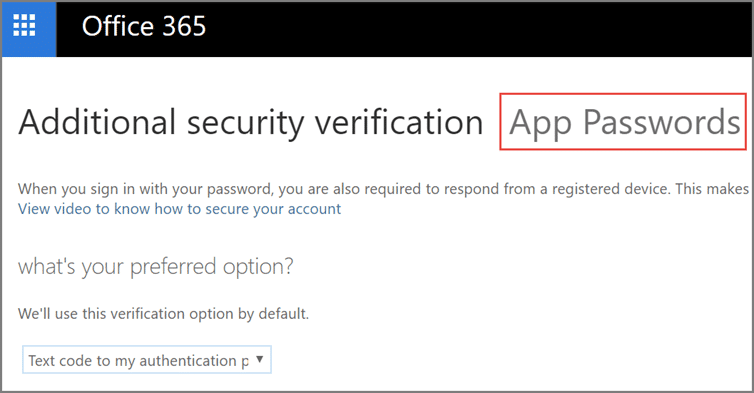 Microsoft 365 additional security verification screen