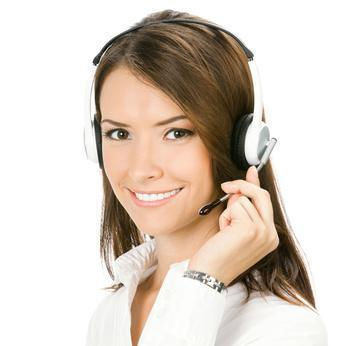 image of pretty woman with phone headset