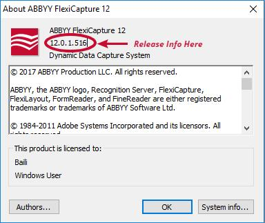 ABBYY FlexiCapture about the software version page
