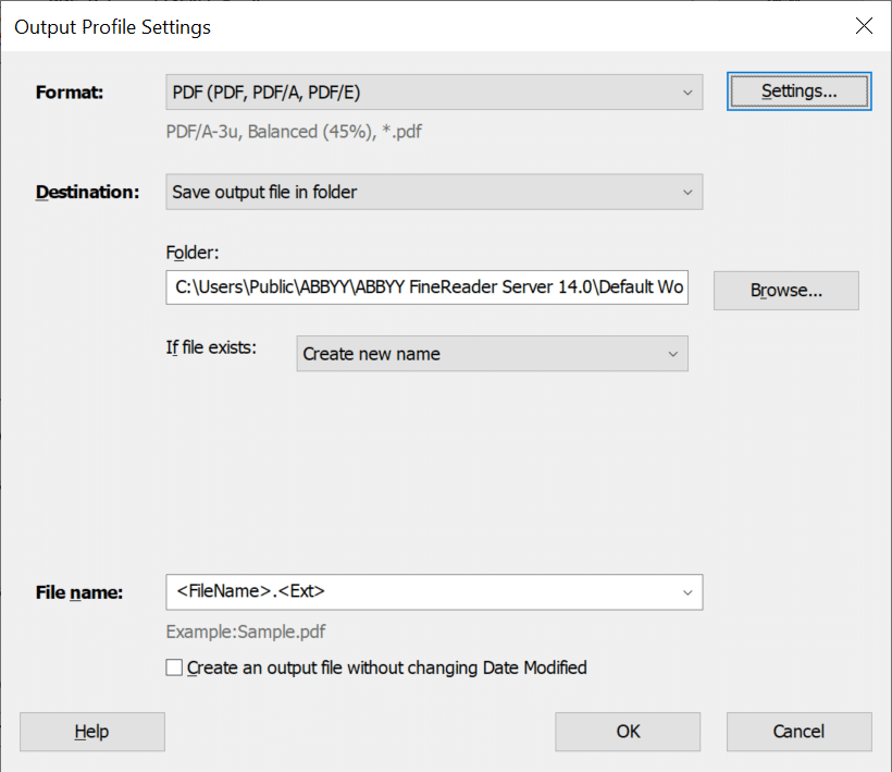 Program GUI settings box showing output profile settings for various pdf formats