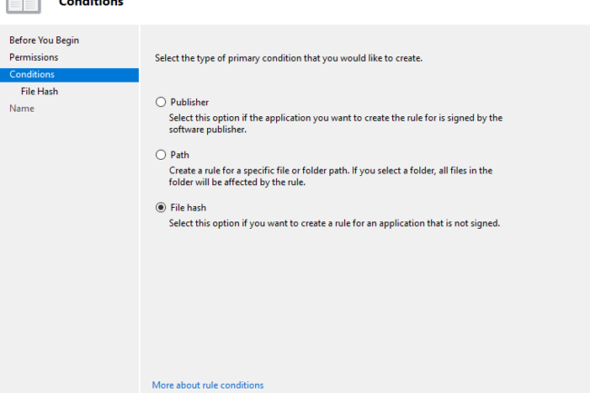 file hash group policy editor screen shot for applocker policy