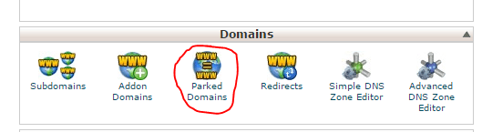 parked domain cpanel